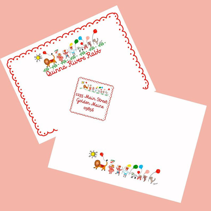 Personalized Notecards with Envelopes - Circus Parade