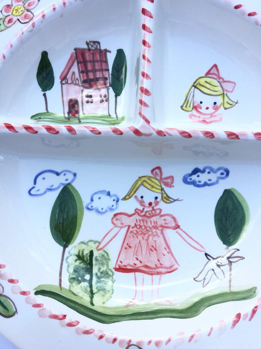 Baby Divided Bowl - Flowers Girl and House