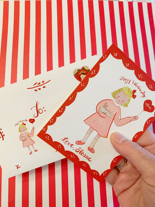 Valentine Cards-Pink dress with Red Flower Pattern