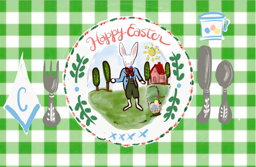Bunny Gingham Placemat (personalized)