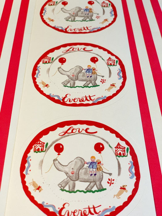 Custom Sticker Gift Tags - Circus