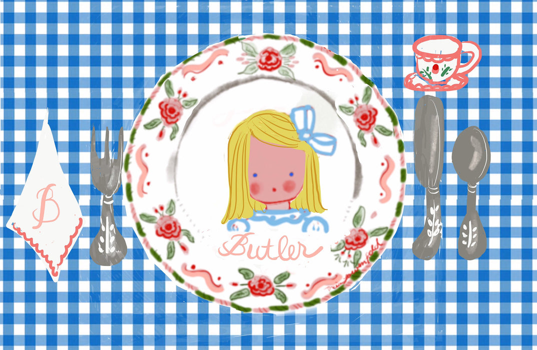 Laminated Placemat - Blue Gingham Girl