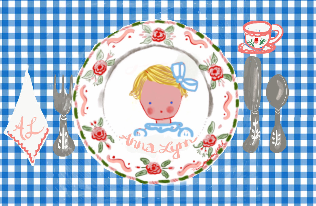 Laminated Placemat - Blue Gingham Baby Girl