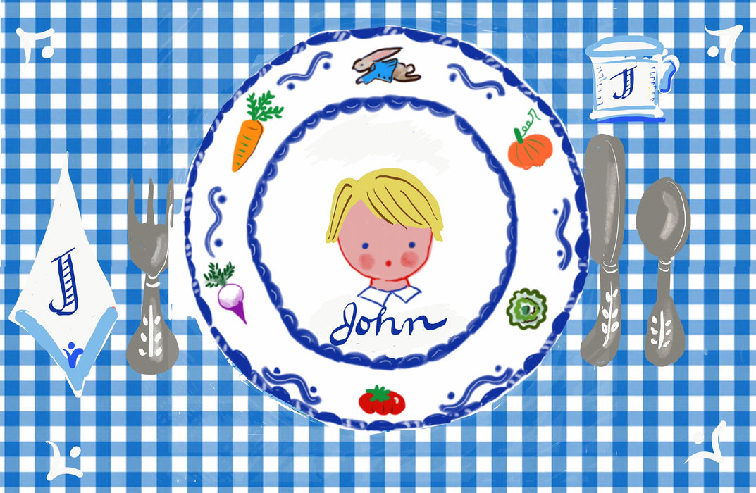 Laminated Placemat - Boy with Rabbit Garden