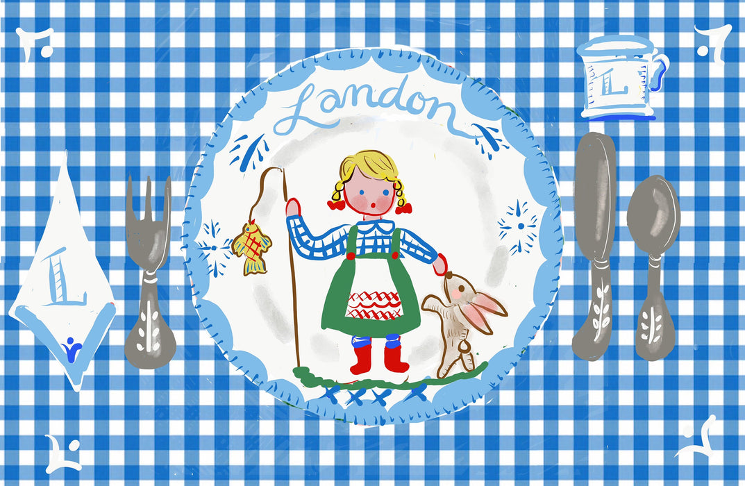 Laminated Placemat - Blue Fisherman Girl and Bunny