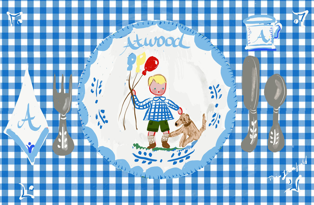 Laminated Placemat - Boy with Balloons and Dog