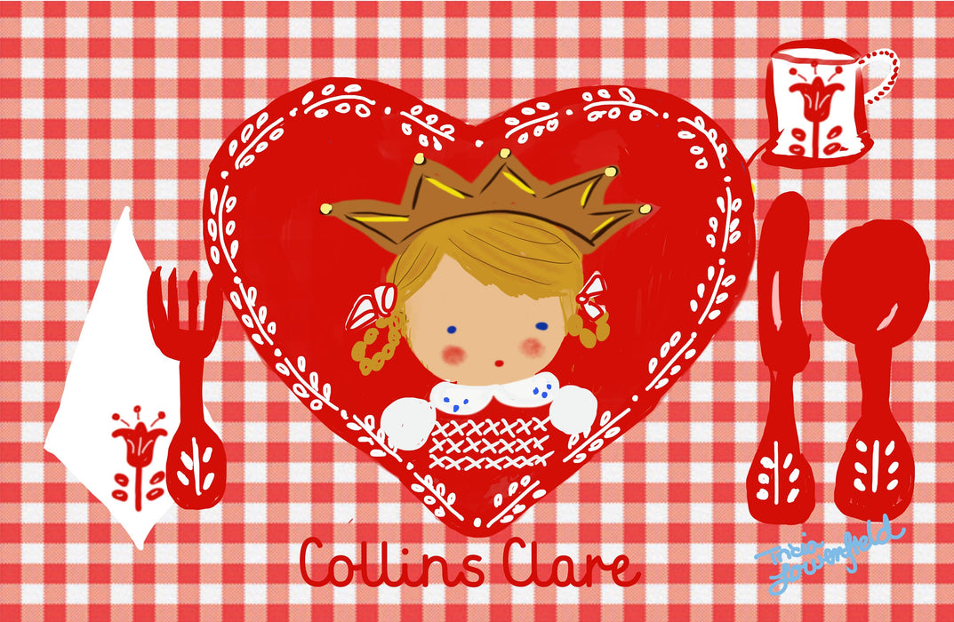 Laminated Placemat - Heart Girl with Crown