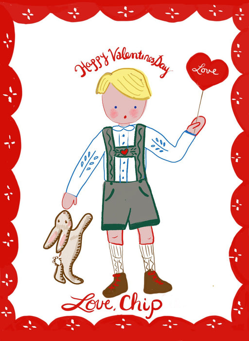 Valentine Cards - Boy in Green and Grey Overalls