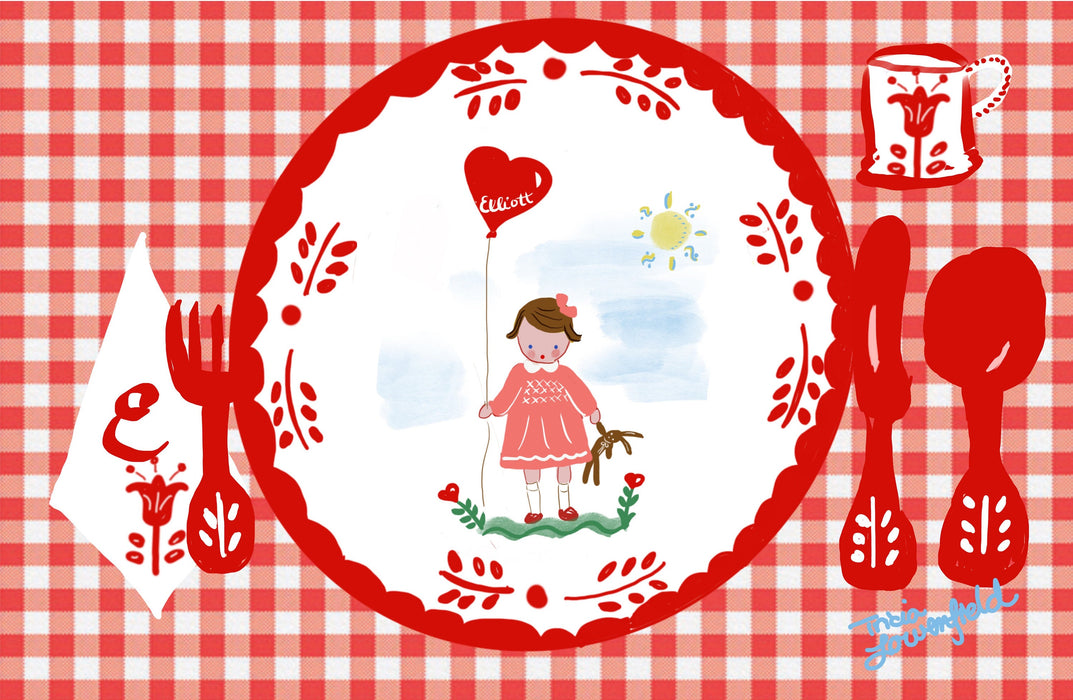 Laminated Placemat - Red Gingham Girl with Balloon