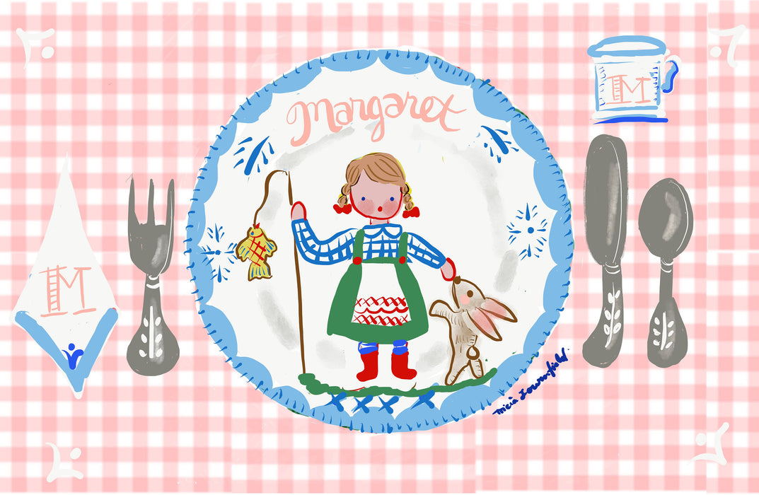 Laminated Placemat - Pink Fisherman Girl and Bunny