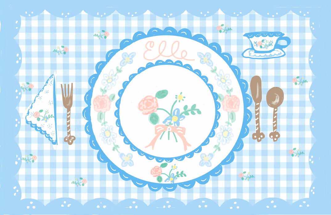 Laminated Placemat - Pastel Blue Gingham