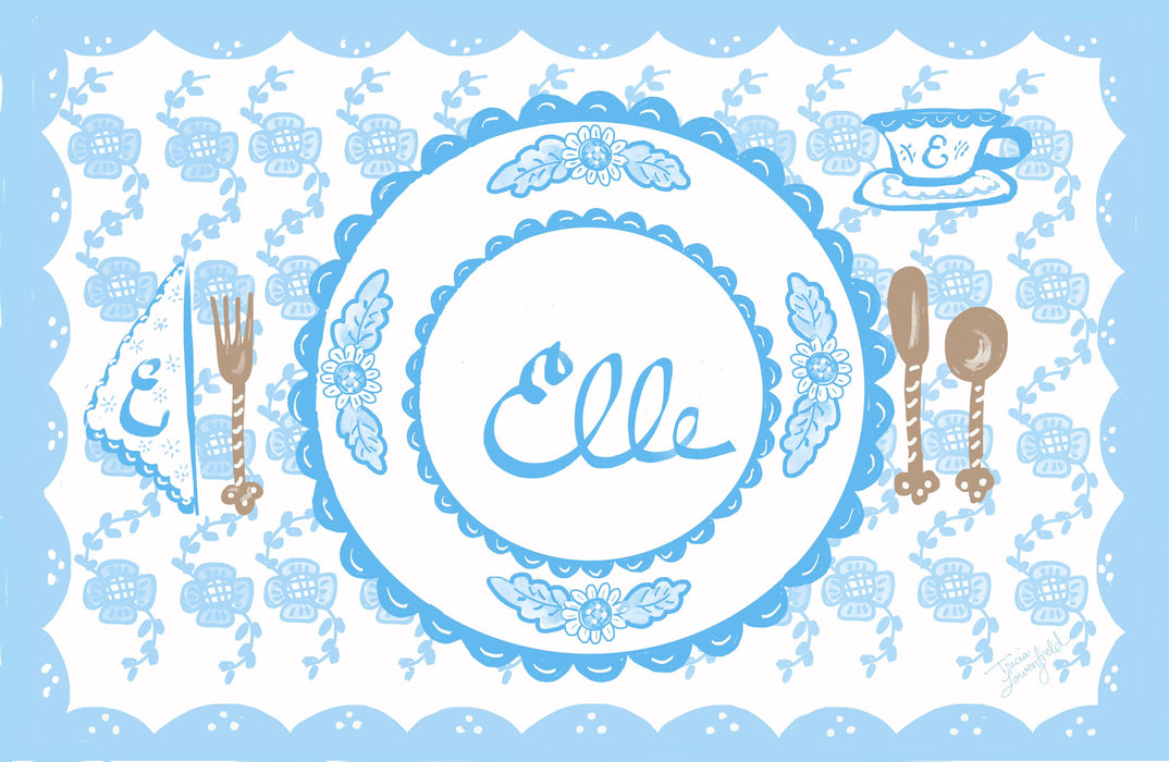 Laminated Placemat - Pastel Blue/White
