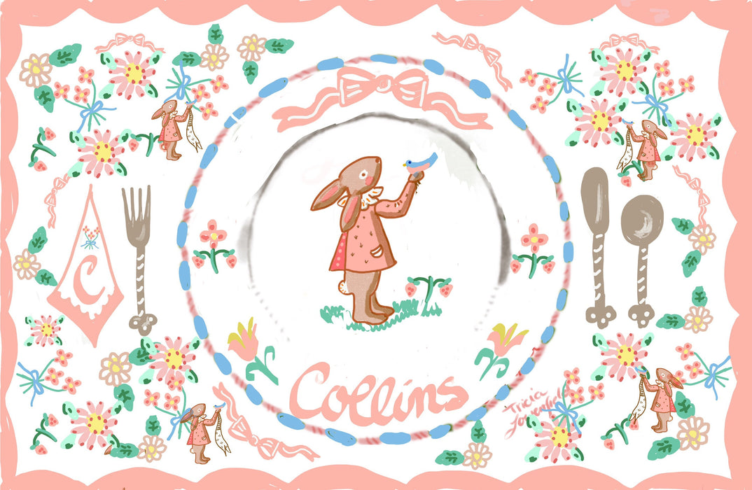 Bunny with Bird Laminated Placemat