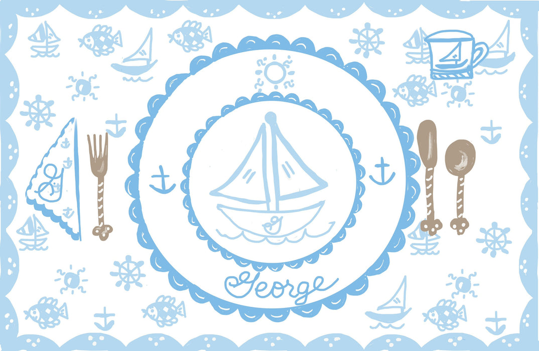 Laminated Placemat - Pastel Blue Sailboat