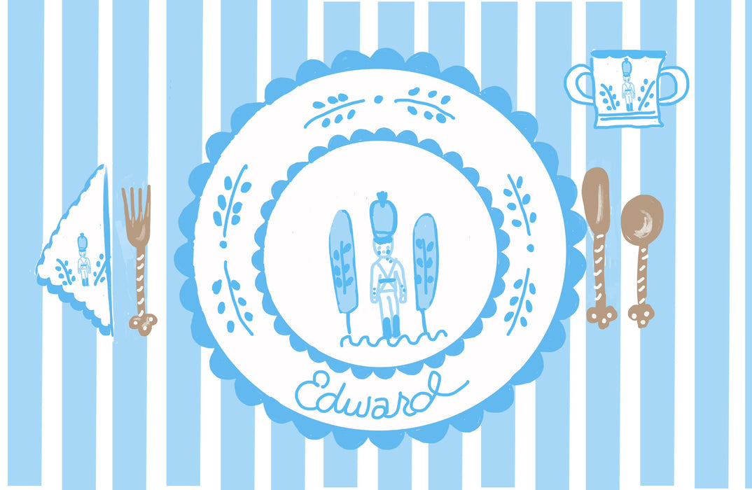 Laminated Placemat - Pastel Soldier Stripe