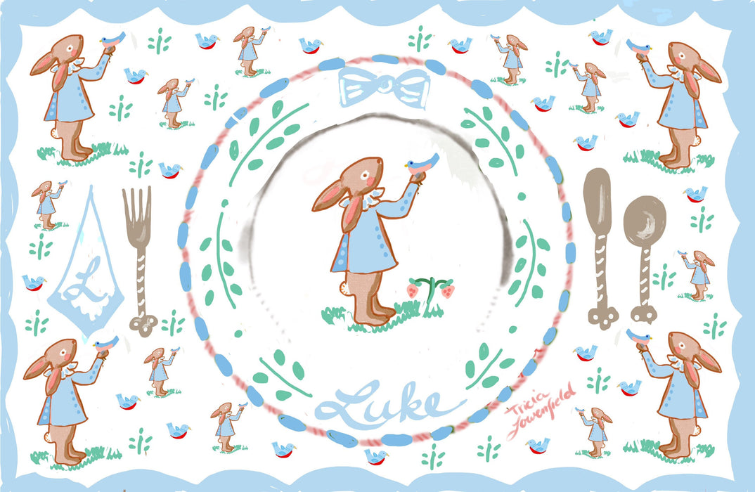Laminated Placemat - Blue Bunny with Bird
