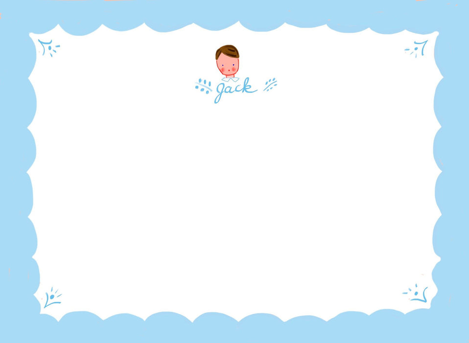 Personalized Notecards with Envelopes - Blue Scallop Boy