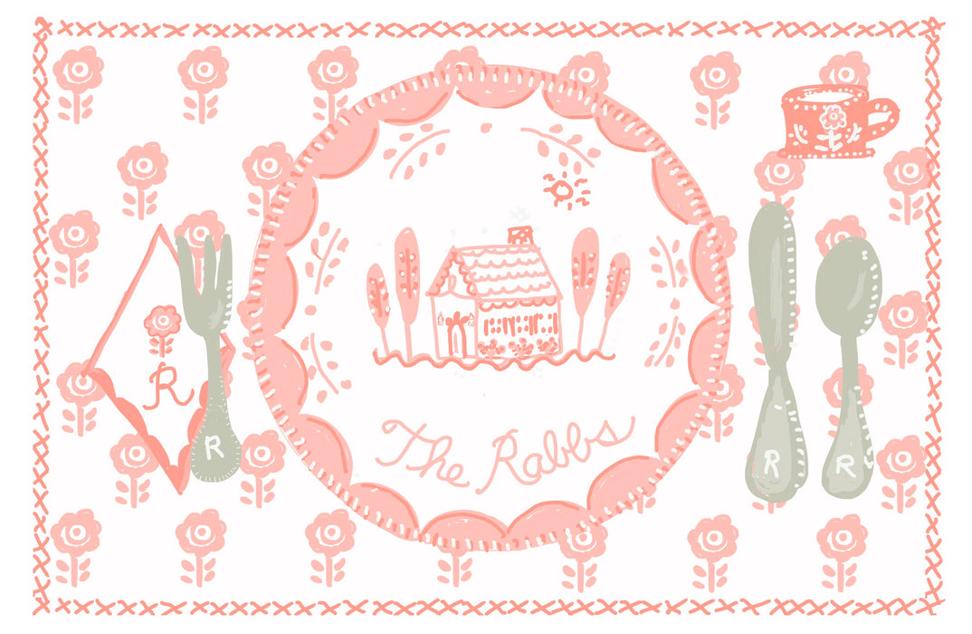 Laminated Placemat - Pink House