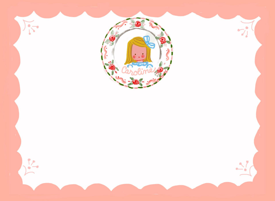 Personalized Notecards with Envelopes - Pink Scallop Girl