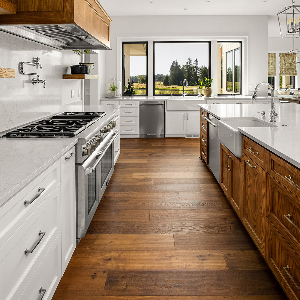 Where can engineered wood flooring be installed?