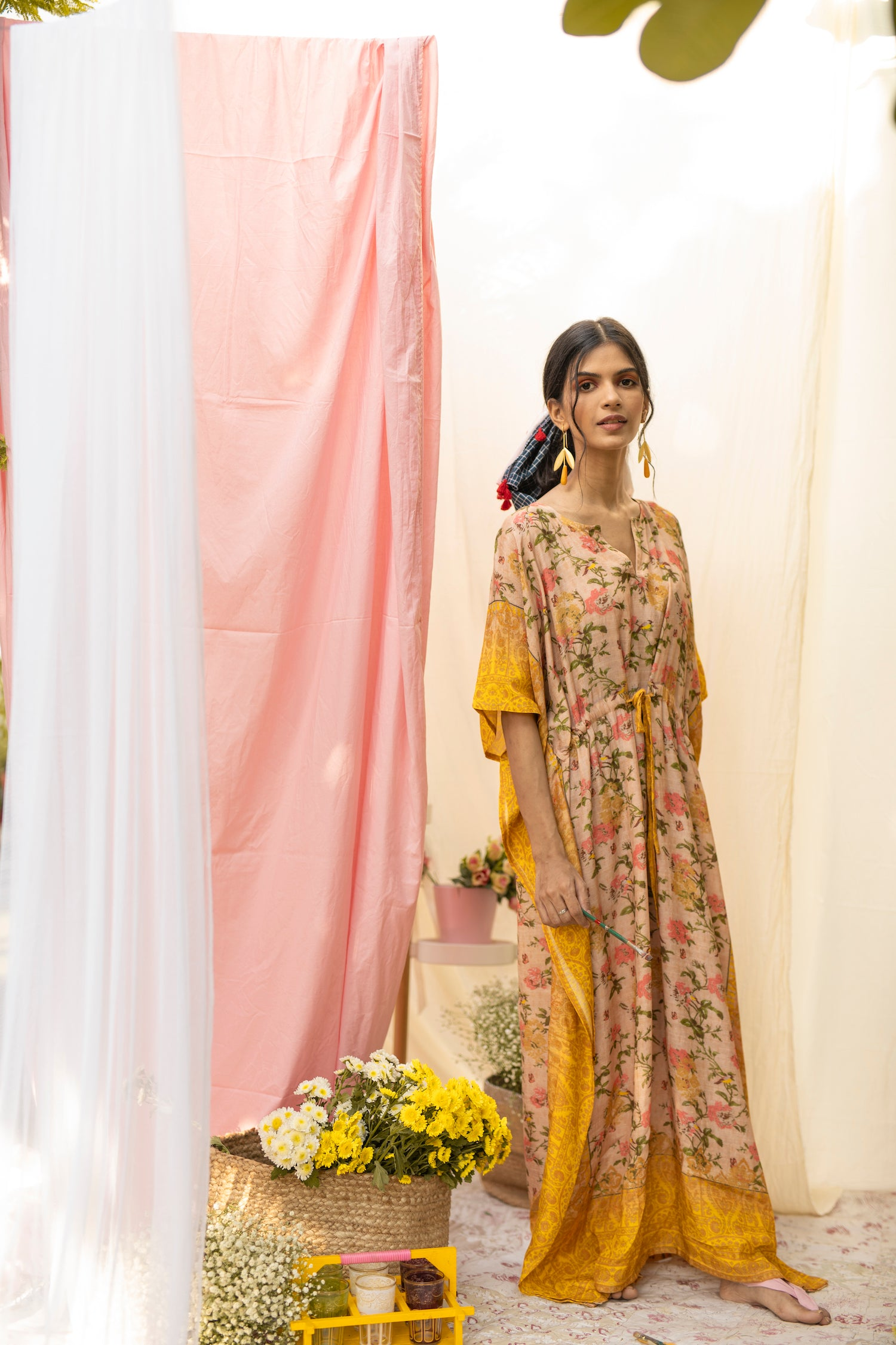 Blossom Yellow Winter Kaftan
