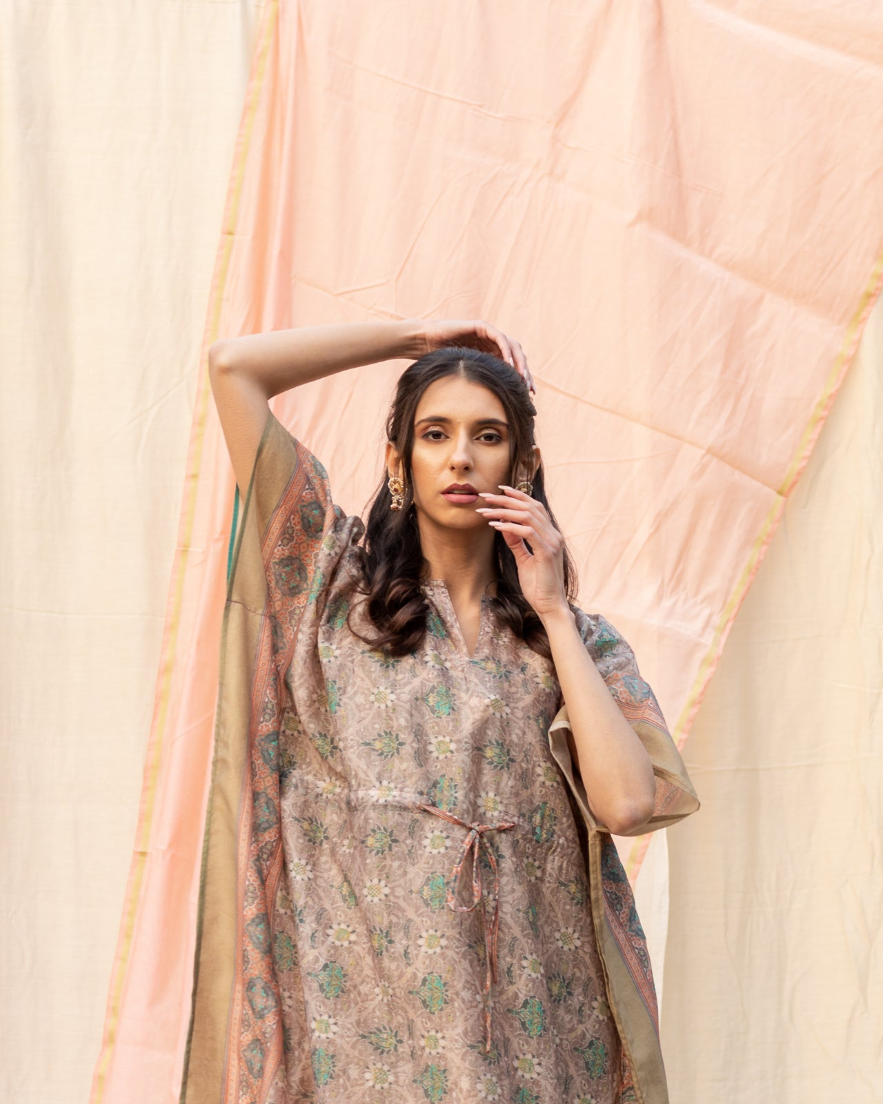 Earthy Toned Printed Cotton Kaftan