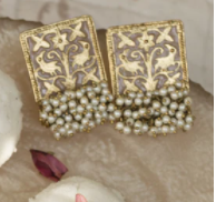 Pastel Green Gold Plated Earrings With Pearl Cluster