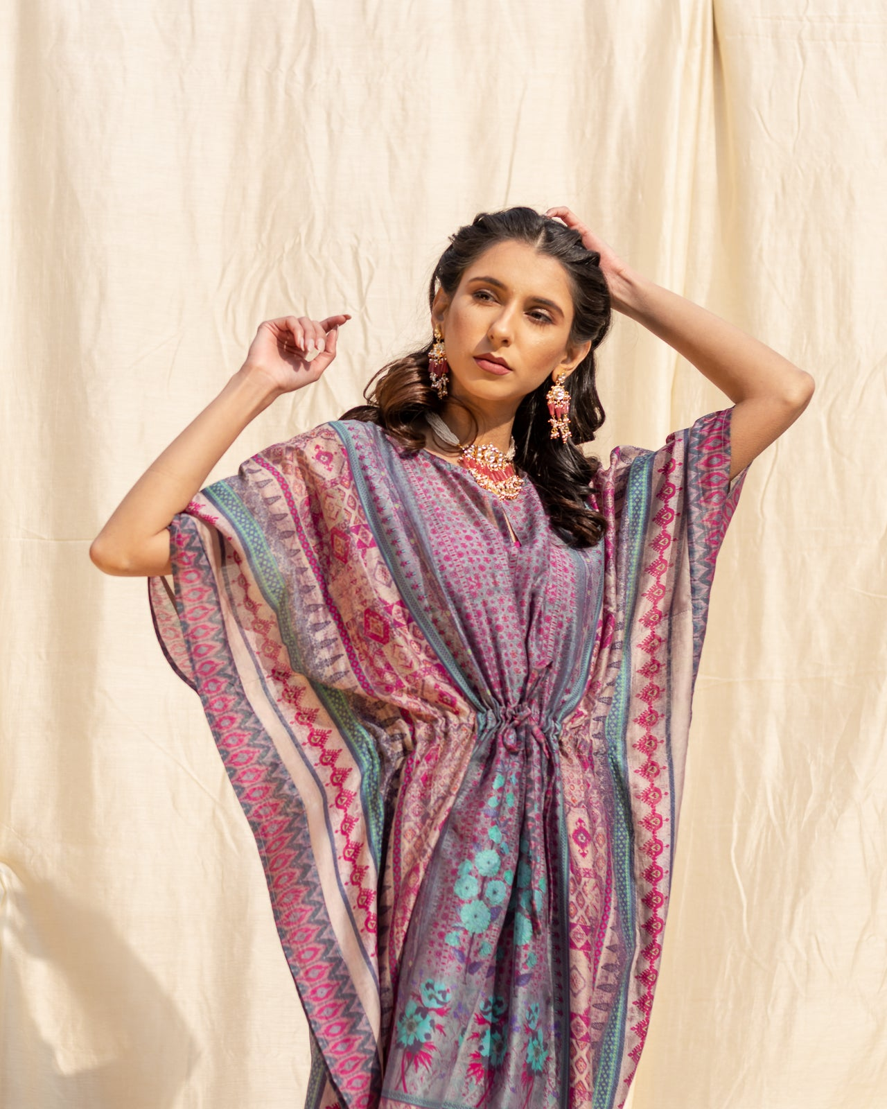 Deep Blue & Purple Printed Cotton Kaftan