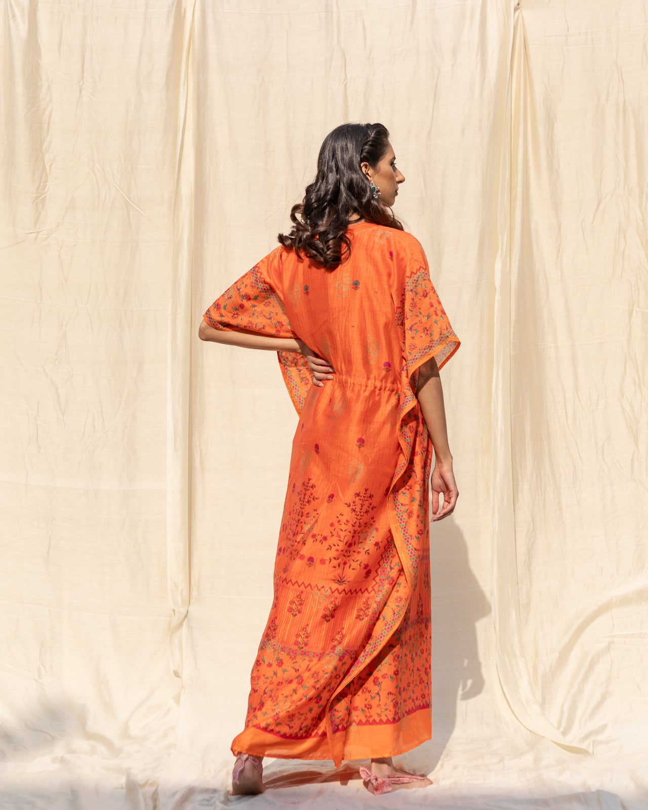 Orange Banarasi Printed Kaftan