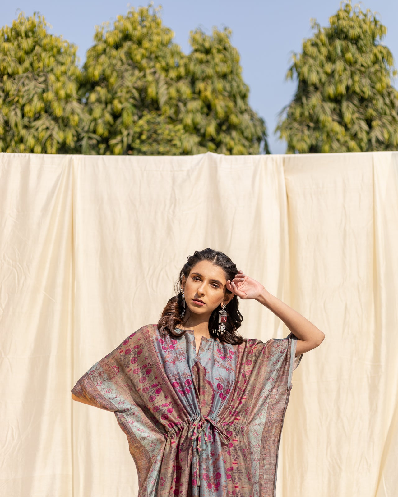 Sea Blue Handcrafted Cotton Printed Kaftan