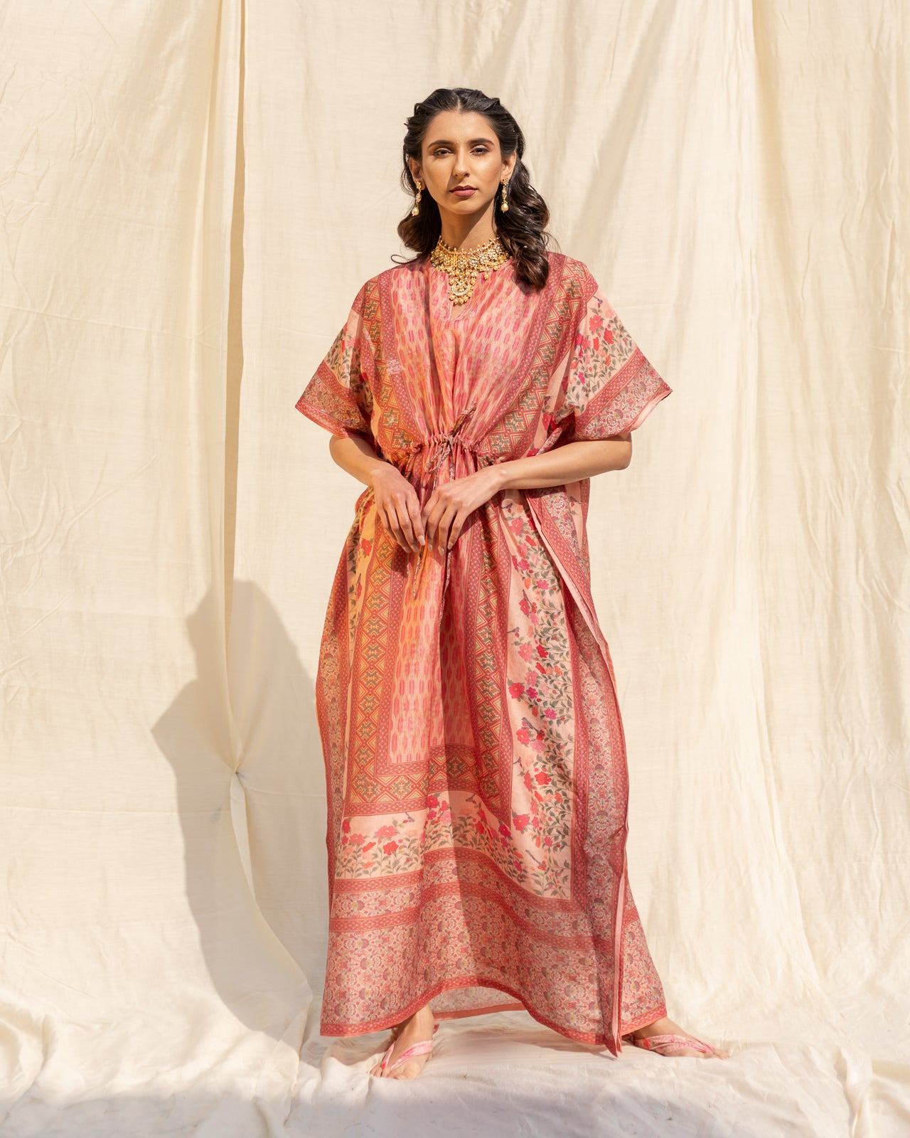 Pink Bordered Cotton Kaftan
