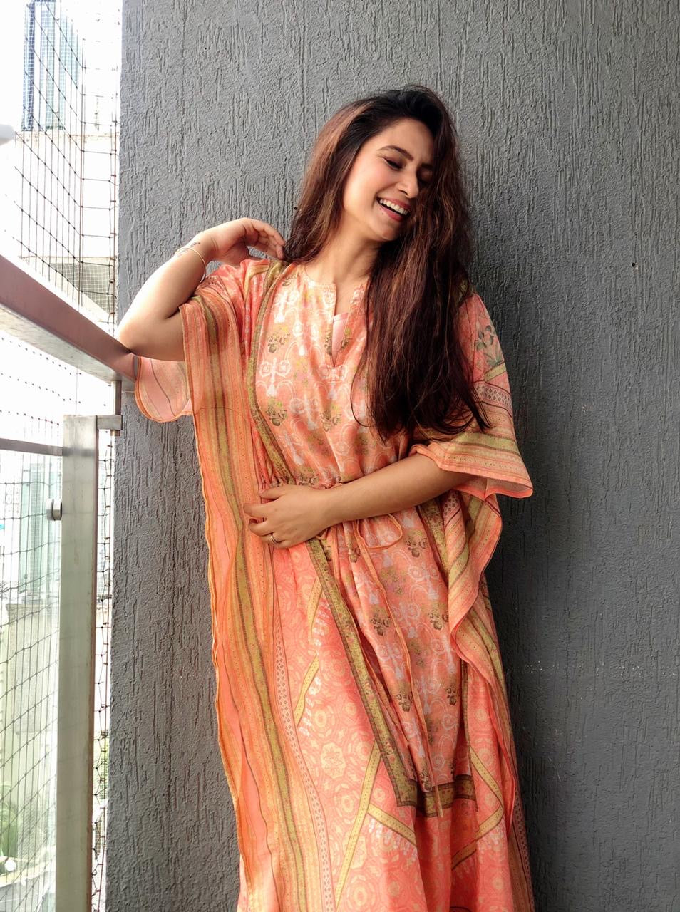 Light Orange Cotton Printed Kaftan