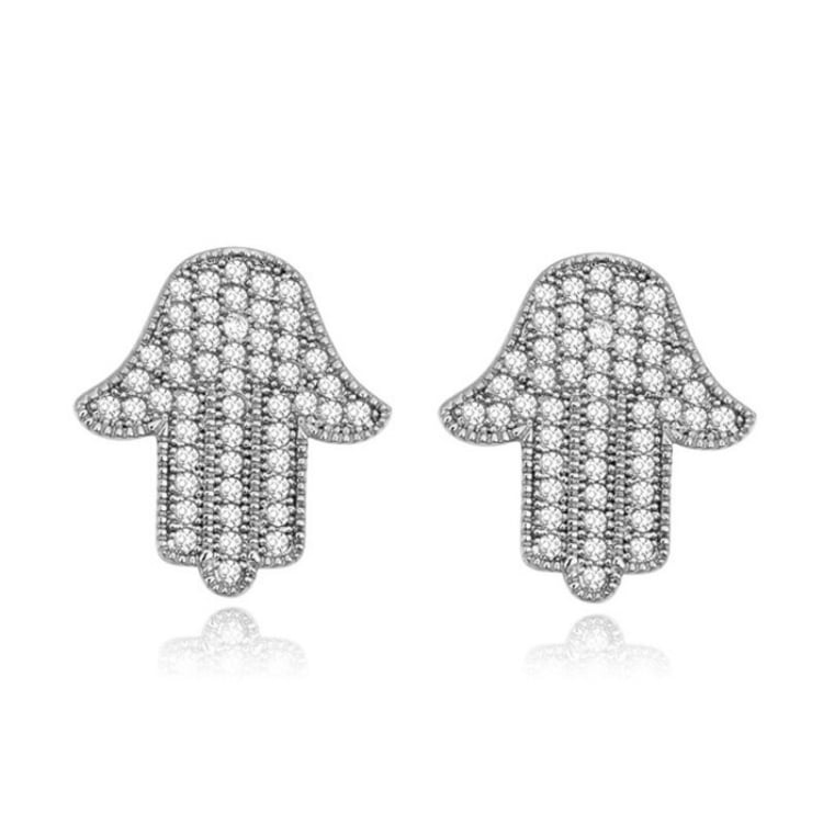 Boucles d'Oreilles Main de Fatma Brillants