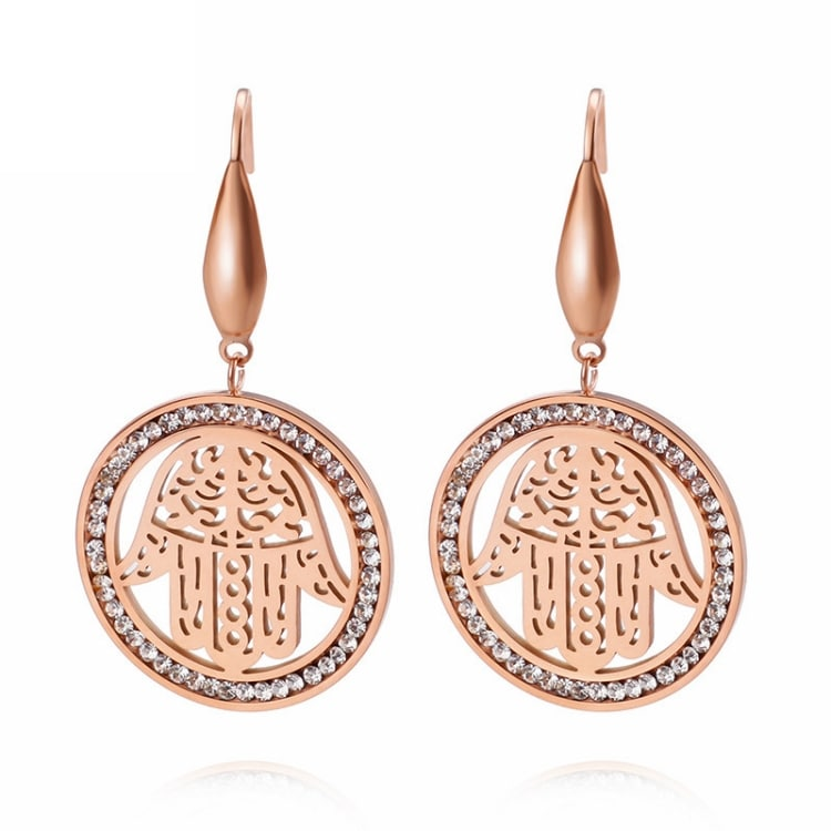 Boucles d'Oreilles Main de Fatma Cercle Or Rose