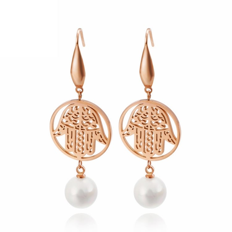 Boucles d'Oreilles Main de Fatma Perle Or Rose