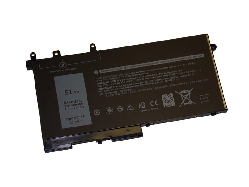 Powerwarehouse PWH-93FTF 3-cell 11.4V, 4474mAh Li-Polymer Internal Notebook Battery for DELL Dell Latitude 5495, 5490, 5491, 5580, 5480, 5280, 5290, 5590, 5591
