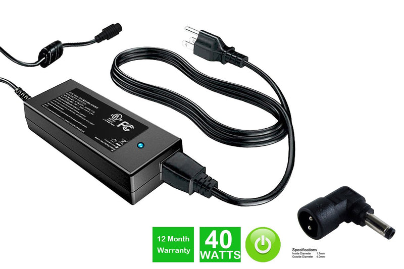 Powerwarehouse PWH-AC-1940123 19V, 40W AC Adapter for AC Adapter w/ C123 tip for HP Mini 110-1000 Series