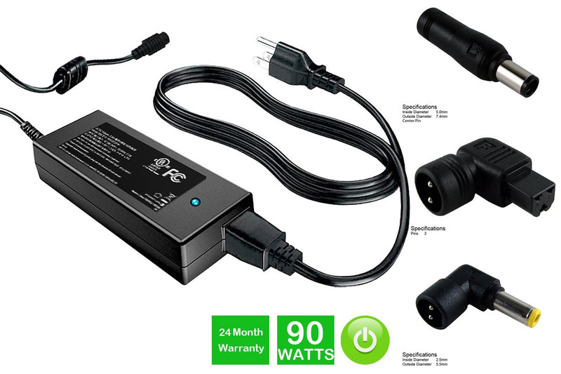 Powerwarehouse PWH-AC-U90EU-DL 19V, 90W AC Adapter for Multi-Tip AC Adapter for Dell Inspiron,  Latitude,  Studio,  Vostro Models