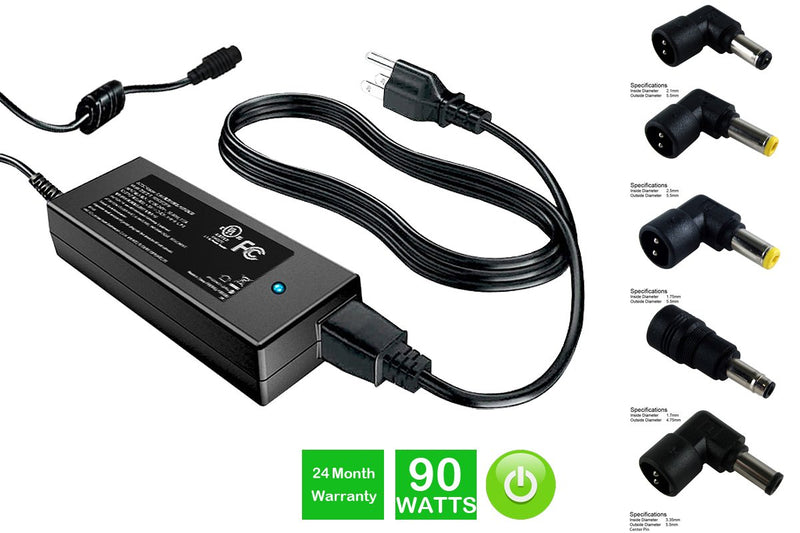 Powerwarehouse PWH-AC-U90EU-GT 19V, 90W AC Adapter for Multi-Tip AC Adapter for Gateway Models
