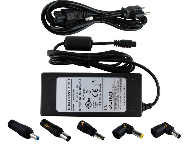 Powerwarehouse PWH-AC-U90W-HP 19V, 90W AC Adapter for Multi-Tip AC Adapter for HP Elitebook,  Mini,  Omnibook,  Evo Models