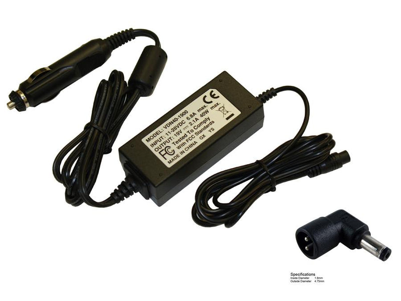 Powerwarehouse PWH-AP-1940112 19V, 40W Auto Adapter for HP Compaq Envy 4-1000,  HP Compaq Envy 4-1030US,  HP Compaq Envy 4-1038NR,  HP Compaq Envy 4-1110US,  HP Compaq Envy 4-1015DX