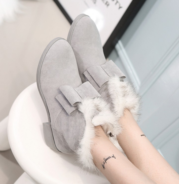 Winter new warm snow boots fashion bow with low-heeled boots with women