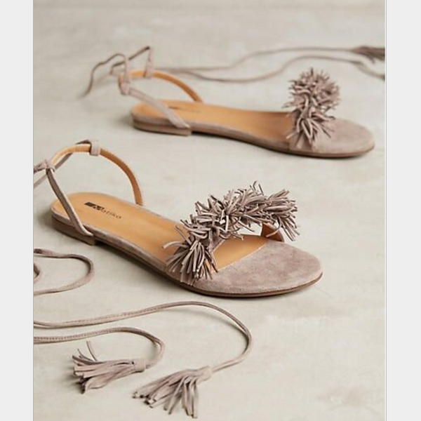 Summer wild with flat surface fringed tassel straps flat sandals female word with open-toed strap sandals
