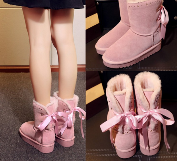 Snow boots with women's boots warm bow