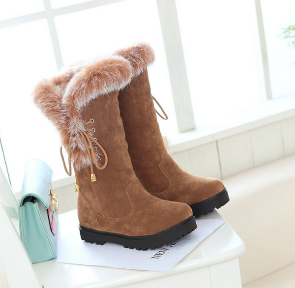 Autumn and winter new female snow boots round warm bow boots women bow boots