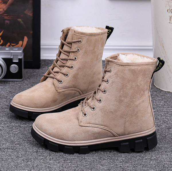 Autumn and winter snow boots women's shoes with flattened velvet students thicken the Department of short frosted cotton shoes Women boots