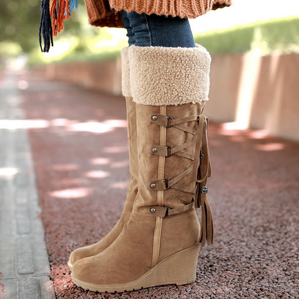 Large size shoes with frosted tassels after high boots slope with snow boots