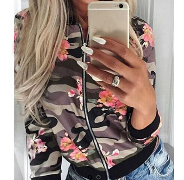 Fashion camouflage print flower leisure long sleeve caot