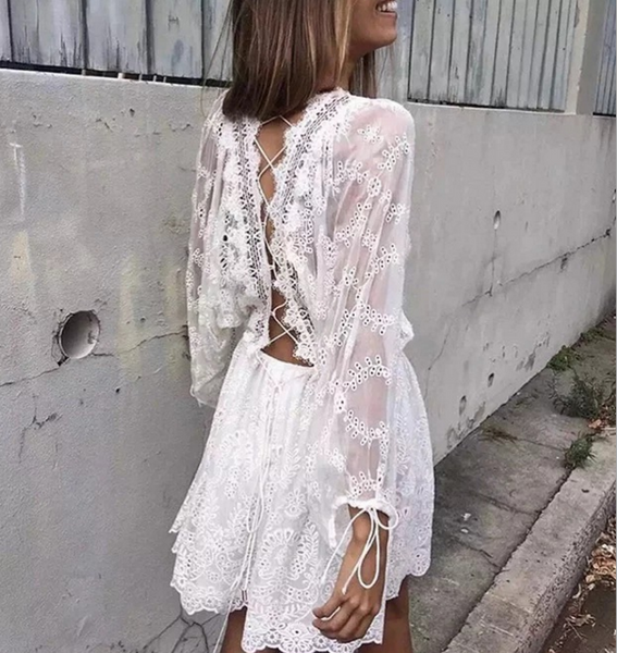Hot sale fashion sexy lace up type embroidery flower splicing lace long sleeve dress