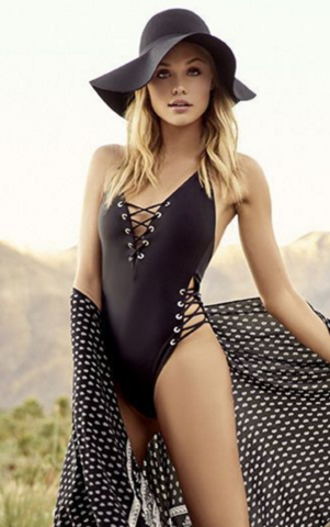 Sexy halter solid black chest and waist side lace up one piece bikini show thin